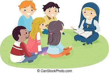 stickman, adolescentes, freira, ao ar livre, estudo bíblia