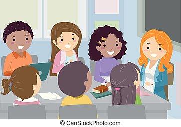 stickman, adolescenti, riunione, studente, consiglio