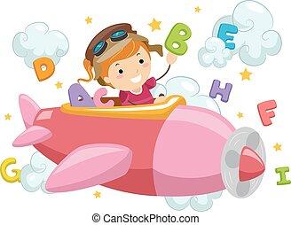 stickman, alfabet, wolken, meisje, vliegtuig, geitje