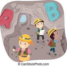 stickman, alfabeto, bambini, caverna, esplorare