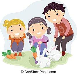 stickman, alimentação, coelhos, crianças