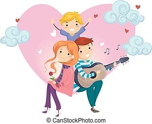 stickman, Amor, família, serenata
