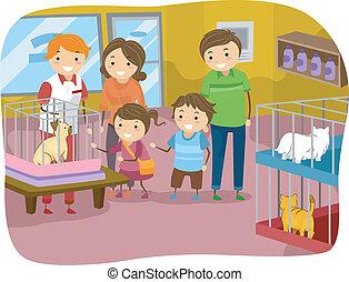 stickman, animale domestico famiglia, gatto, negozio, acquisto