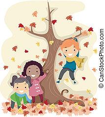 stickman, autumn leaves