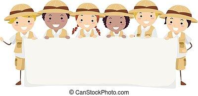 stickman, børn, banner, opdagelsesrejsende, illustration