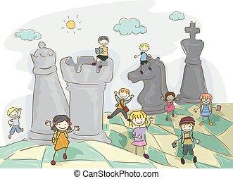 stickman, børn, chess, felt, illustration