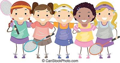 stickman, badminton, meninas