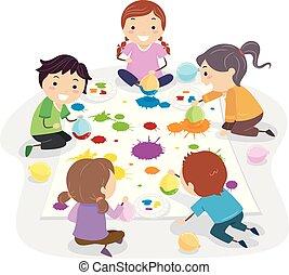 stickman, balloon, bambini, pittura, illustrazione