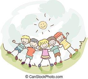 stickman, bambini, amicizia