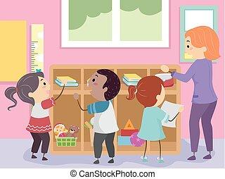 stickman, bambini, aula, organizzare, illustrazione