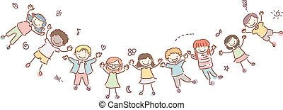 stickman, bambini, bandiera, felice