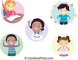 stickman, bambini, benefici, esercizio, illustrazione