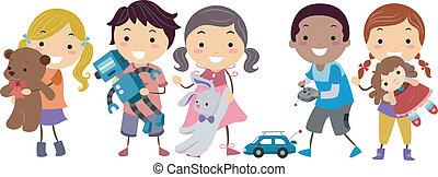 stickman, bambini, eseguendo giocattoli