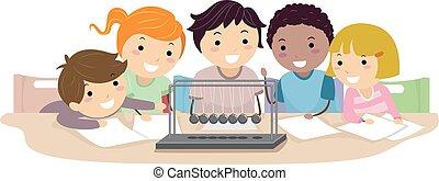 stickman, bambini, fisica, pendolo, illustrazione
