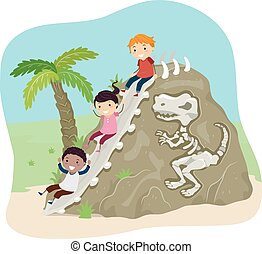 stickman, bambini, fossile, diapositiva