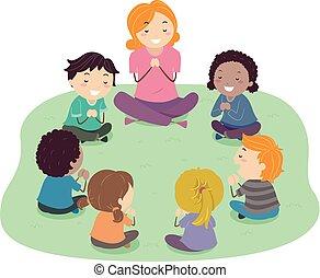stickman, bambini, insegnante, preghiera, illustrazione