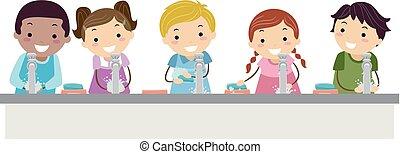 stickman, bambini, lavaggio, illustrazione, mano