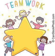 stickman, bambini, lavoro squadra, stella, illustrazione