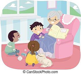 stickman, bambini, libro, storia