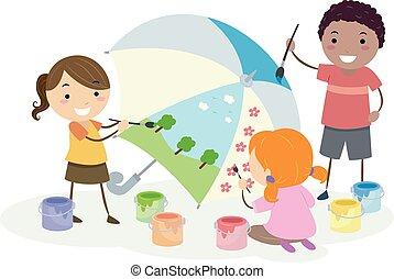 stickman, bambini, ombrello, pittura, illustrazione