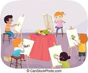 stickman, bambini, pittura, classe, illustrazione