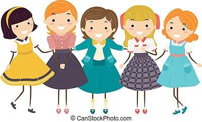 stickman, bambini, ragazze, moda