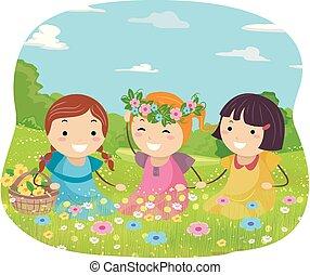 stickman, bambini, ragazze, prato, illustrazione