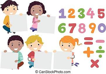 stickman, bambini, risolvere, assi, matematica