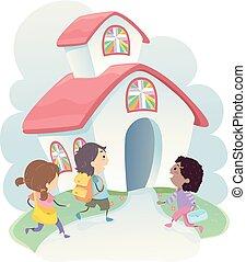 stickman, bambini scuola, cristiano, illustrazione