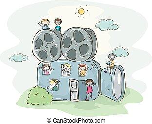 stickman, bambini scuola, video, illustrazione