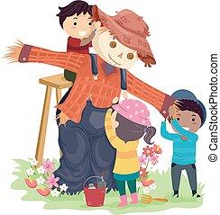 stickman, bambini, spaventapasseri, giardino, illustrazione