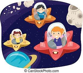 stickman, bambini, stella, nave