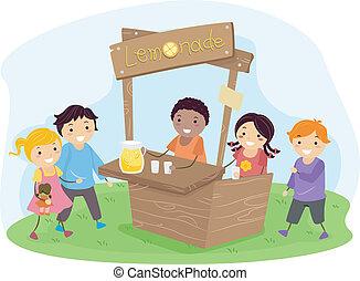 stickman, bambini, su, uno, banco testimoni limonata
