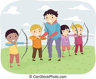 stickman, bambini, tiro con l'arco, lezione