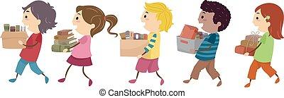 stickman, bambini, vecchi libri