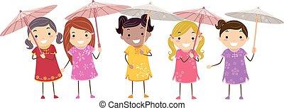 stickman, bambini, vestire, cinese