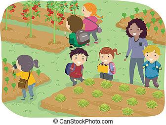 stickman, bambini, viaggio scuola, a, orto