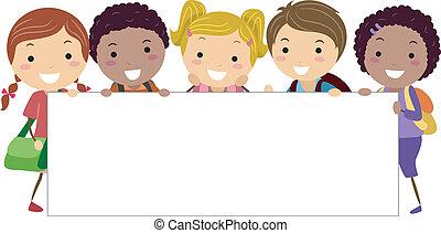 Stickman Banner - Illustration of Kids Holding a Blank...