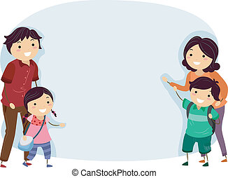 stickman, bannière, famille