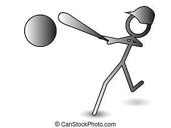 stickman, baseball