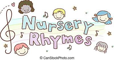 stickman, baumschule, kinder, rhymes