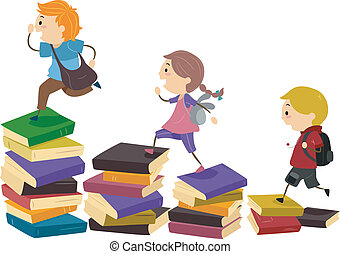 Stickman Books - Illustration of School Kids Using Piles of...