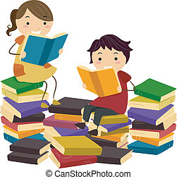 Stickman Books - Illustration of Stick Kids Reading Books...