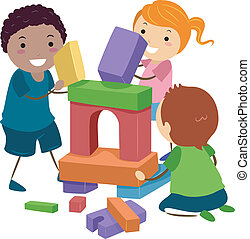 Stickman Building Blocks - Illustration of Stick Kids...