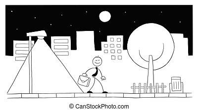 Stickman businessman character walking on the street at night, vector cartoon illustration