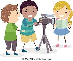stickman, cámara video, niños, ilustración, grabación