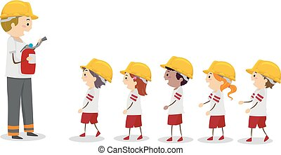 stickman, campo, bombero, línea, niños, ilustración, fuego