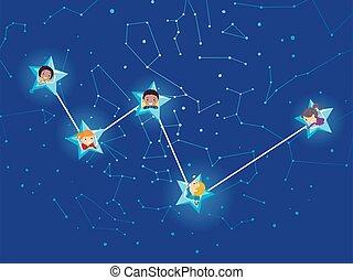 stickman, cassiopeia, gosses, constellation