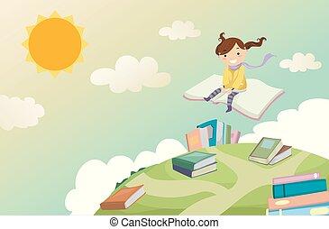 stickman, cavalcade, illustration, livre, girl, gosse