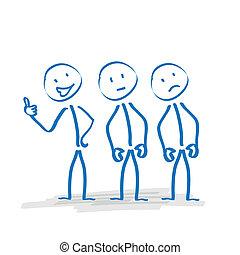 Stickman Cheerfulness - 3 stickmen with different moods on...
